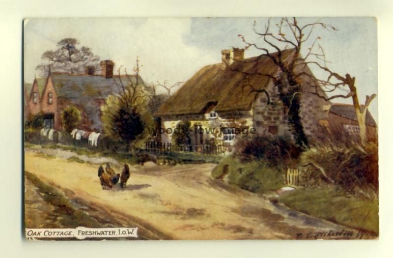 h0188 - Oak Cottage , Freshwater , Isle of Wight - postcard art Richardson