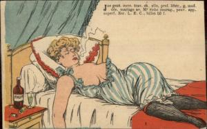 French Woman Passed Out Smoking Cigarette Prostitute? Drugs? Postcard