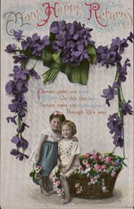 Many Happy returns children flower basket