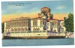 Ringling Residence from Bay, Sarasota, Florida, 1956 used linen Postcard