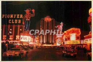 Postcard Modern Las Vegas Downtown Showing Plaza Hotel Pioneer Club Sassay Sa...