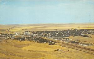 Ritzville Washington Aerial View~Houses-Trees-Grain Elevators?-Wheat Fields~'50s