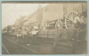 Greatest Show on Earth Circus Wagons~Railroad Cars~Roustabouts~Black~c1914 RPPC
