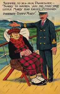 Happy Mary Sailor Ship Fallen Overboard Old Comic Postcard