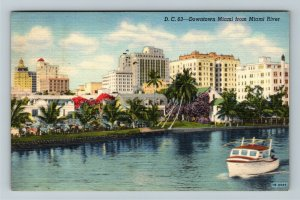 Miami FL-Florida, View of Miami Skyline Downtown from the River, Linen Postcard