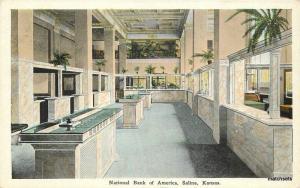 1920s National Bank of America Salinas Kansas Kropp postcard 11736