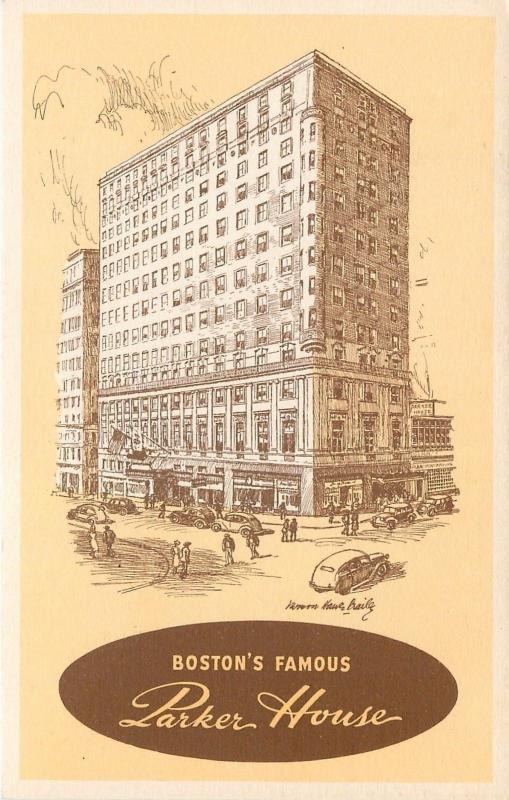Boston Massachusetts~Parker House~Hotel~Vernon Howe Bailey Artist~1940s Postcard