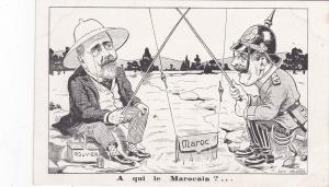 German Kaiser fishes for Maroc,A qui le Marocain?, 1906 Political cartoon