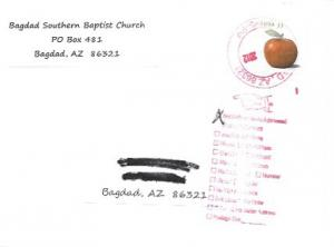 US #4730  Red Delicious Apple.  Invitation to attend Church - Bagdad