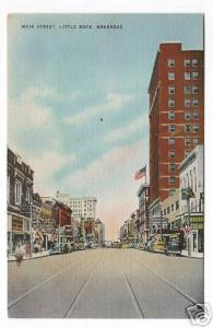 Main Street Little Rock Arkansas 1940s postcard
