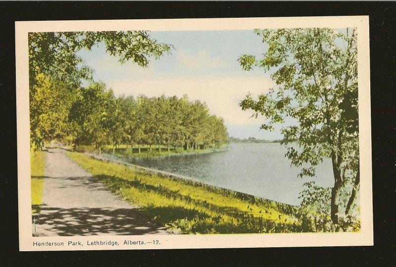 Vintage Henderson Park Lethbridge Alberta Linen Postcard