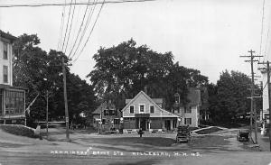 Hillsboro NH Storefronts G.A.R. Socony Gas Station Old Cars Real Photo Postcard