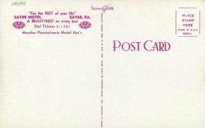 1950s Sayre Motel roadside Pennsylvania Postcard Tichnor 7882