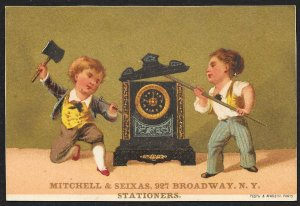 VICTORIAN TRADE CARD Mitchell & Seixas Clocks Two Boys Breaking Into Large Clock