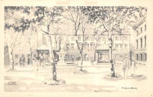 The Quad at Barts, Fountain, Ernest Coffin Signed