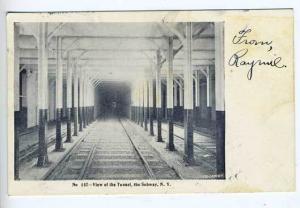 New York NY Subway Tunnel Railway Postcard