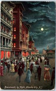 Atlantic City, New Jersey Postcard Boardwalk by Night Full Moon c1910s Unused