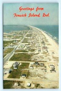Postcard DE Fenwick Island Airview of Beach and Houses H07