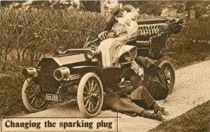 Auto Spark Plug Romantic Couple Comic Humor C-1910 Postcard 6158