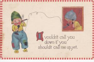 Dutch boy calling girl, I vouldn't call you down if you chouldt call me up, ...