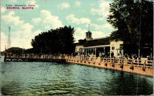Lake Manawa Water Front Club House Council Bluffs Iowa IA Souvenir Postcard