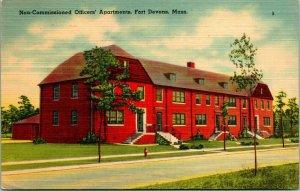 Vtg Linen Postcard Fort Devens Massachusetts MA Non-Commissioned Officer Bldg