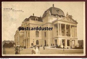 dc1521 - AUSTRIA Graz 1900s Stadt Theater. Sent to Breslau