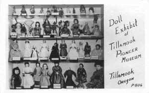 Doll Exhibit Pioneer Museum 1950s Tillamook Oregon RPPC Photo Postcard 12628