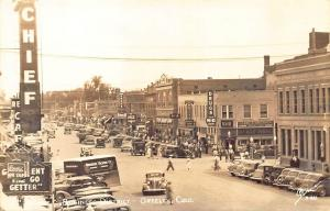 Greeley CO Business District Old Cars Sanborn Real Photo Postcard