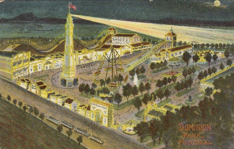 MONTREAL, Quebec, 1911 ; Dominion Amusement Park at night