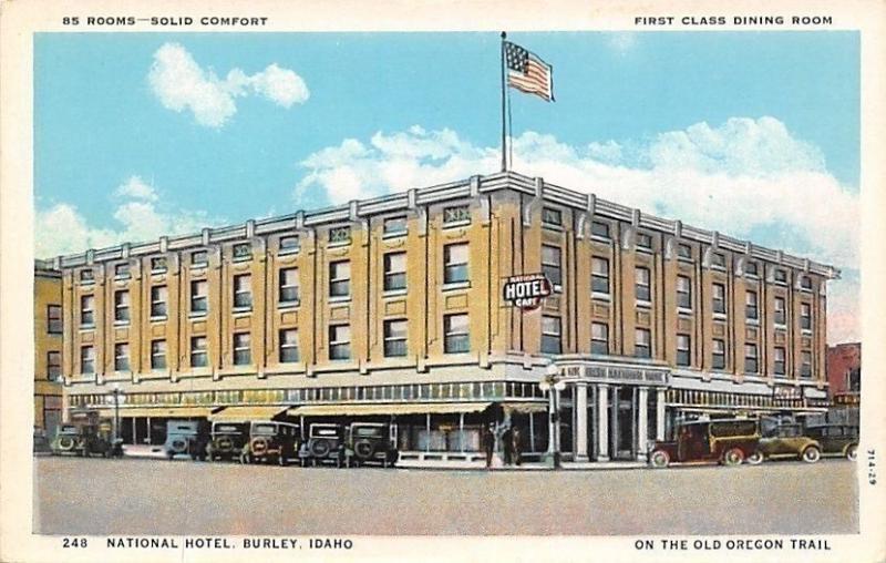 Burley Idaho National Hotel Bank 1920s Postcard