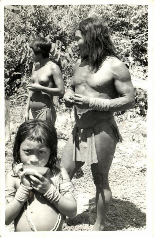 british guiana, Native Indian Family, Boy Harmonica (?) Instrument (1958) RPPC