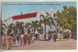 P829 1947 st. petersburg fl. 5th ave baptist church with many people