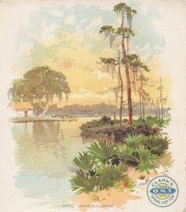 TC59 Clark's O.N.T. Spool Cotton, Vintage Trade Card, Bayou, Teche, Louisiana