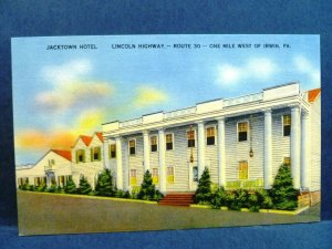 Postcard PA Irwin Lincoln Highway Route 30 Jacktown Hotel