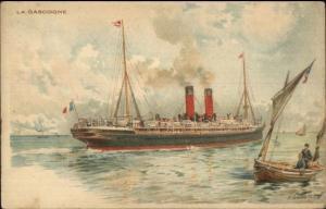Stemaer Steamship LA GASCOGNE c1900 French UDB Postcard jrf