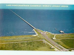 Longest Bridge in World Lake Pontchartrain Causeway New Orleans Postcard # 8405