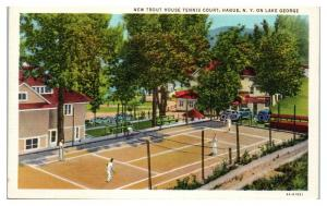 New Trout House Tennis Court, Hague, NY on Lake George Postcard *5E4
