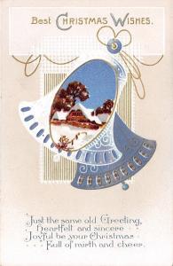 Christmas~Blue White Bells Swing~Gold Leaf White Emboss~International Art Pub~PC