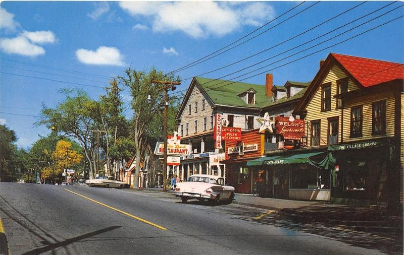 Gorham New Hampshire~Main Street~Log Cabin Store~Restaurants~Mobil Gas~50s Cars