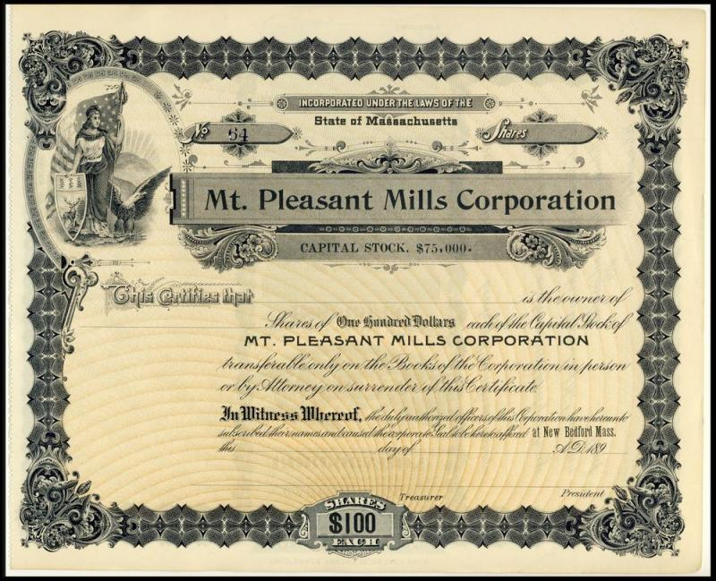 Mt. Pleasant Mills Stock Certificate, New Bedford, Mass/MA