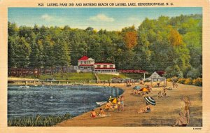 HENDERSONVILLE NC~LAUREL PARK INN-BEACH-ON LAUREL LAKE POSTCARD