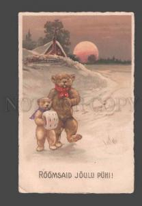 094971 Dressed Funny TEDDY BEAR in Snow Vintage LITHO RARE PC