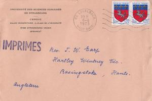 Strasbourg Science University Official 1973 French Envelope Cover