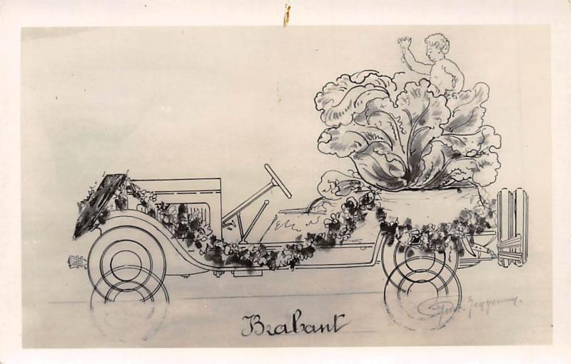 Belgium Brabant vintage car voiture, signed, pansy flowers cabbage fantasy child