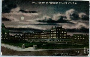 1910s Atlantic City, New Jersey Postcard HOTEL BRIGHTON BY MOONLIGHT Unused