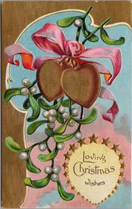 Loving Christmas Wishes Xmas Mistletoe Series Unused Antique Postcard E26