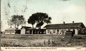 Mo. Pac. Depot Drinking Fountain Eating House Conway Springs KS Vintage Postcard