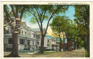 Street Scene, W. Main St.  Elizabeth City, North Carolina, PU-1937