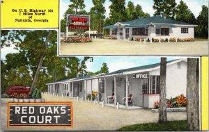 Old Vintage 1940s Red Oak Court Nahunta, GA Post Card Along Highway 301
